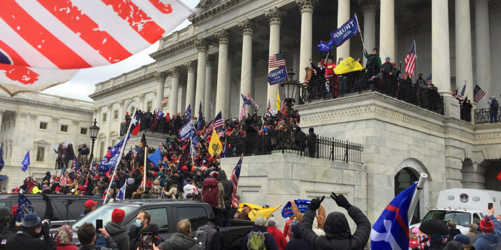 Crowds cheer rioters waving Donald Trump flags as they breach the U.S. Capitol