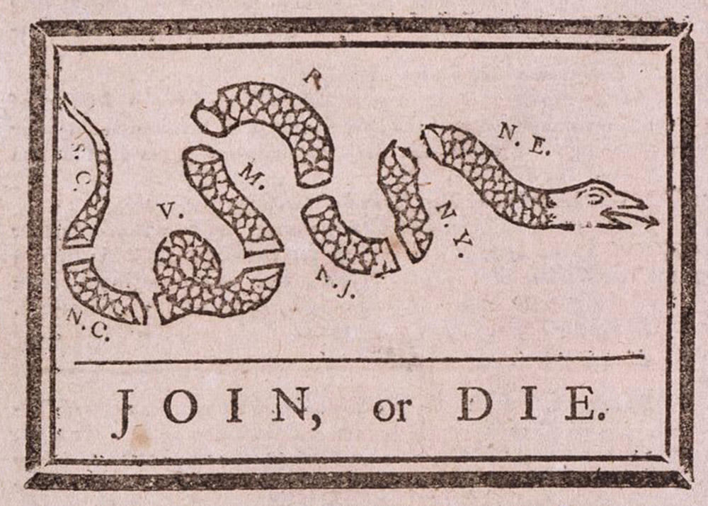 "Benjamin Franklin, ""Join or Die,"" May 9, 1754. Library of Congress,  http://www.loc.gov/pictures/item/2002695523/."