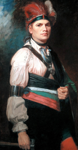 Joseph Brandt as painted by George Romney, British court painter. Brandt was a Mohawk leader who led Mohawk and British forces in western New York. This portrait was made while Brant was visiting England. via Wikimedia.
