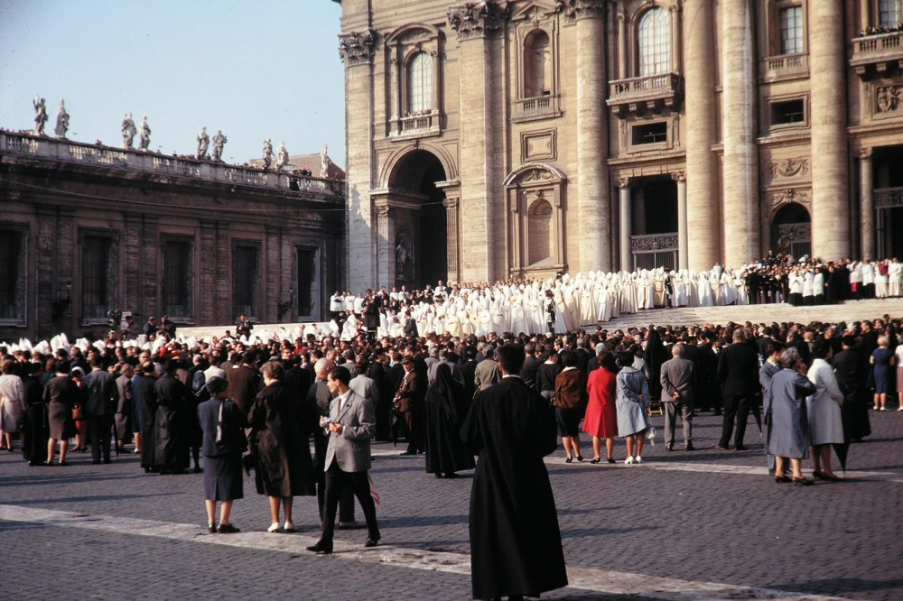 Losing membership and influence throughout the world, leaders of the Catholic Church met in 1965 institute new measures to modernize and open the church. This ecumenical council would become known as the Second Vatican Council or Vatican II. Photograph of the grand procession of the Council Fathers at St. Peter's Basilica, October 11, 1962. Wikimedia, http://commons.wikimedia.org/wiki/File:Konzilseroeffnung_1.jpg.