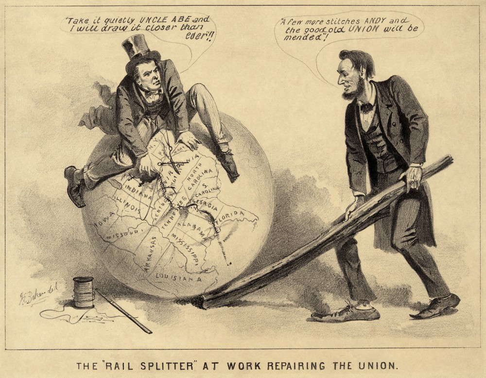 "With the war coming to an end, the question of how to reunite the former Confederate states with the Union was a divisive one. Lincoln's Presidential Reconstruction plans were seen by many, including Radical Republicans in Congress, to be too tolerant towards what they considered to be traitors. This political cartoon reflects this viewpoint, showing Lincoln and Johnson happily stitching the Union back together with little anger towards the South. Joseph E. Baker, ""The 'Rail Splitter' at Work Repairing the Union,"" 1865. Library of Congress, http://www.loc.gov/pictures/item/2008661827/."