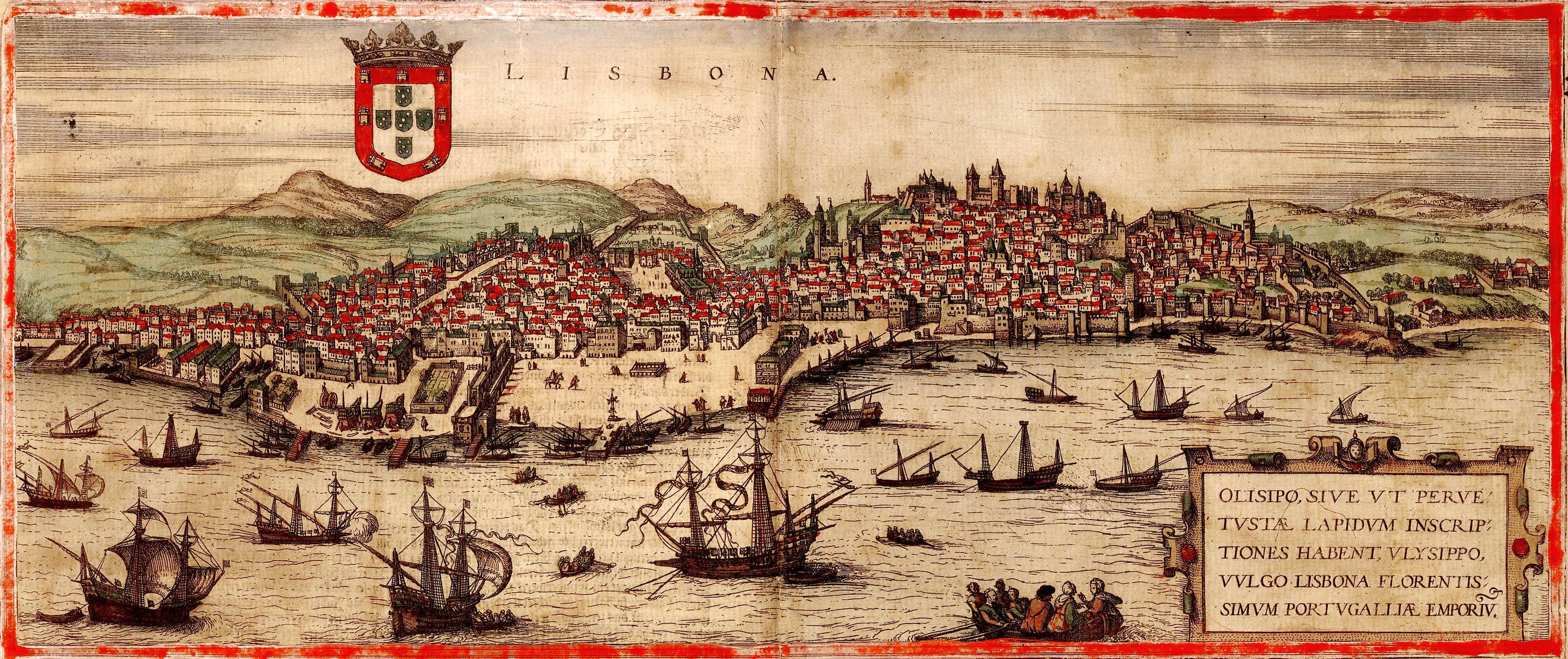 Engraving Of Sixteenth Century Lisbon From Civitatis Orbis Terrarum The Cities Of The World