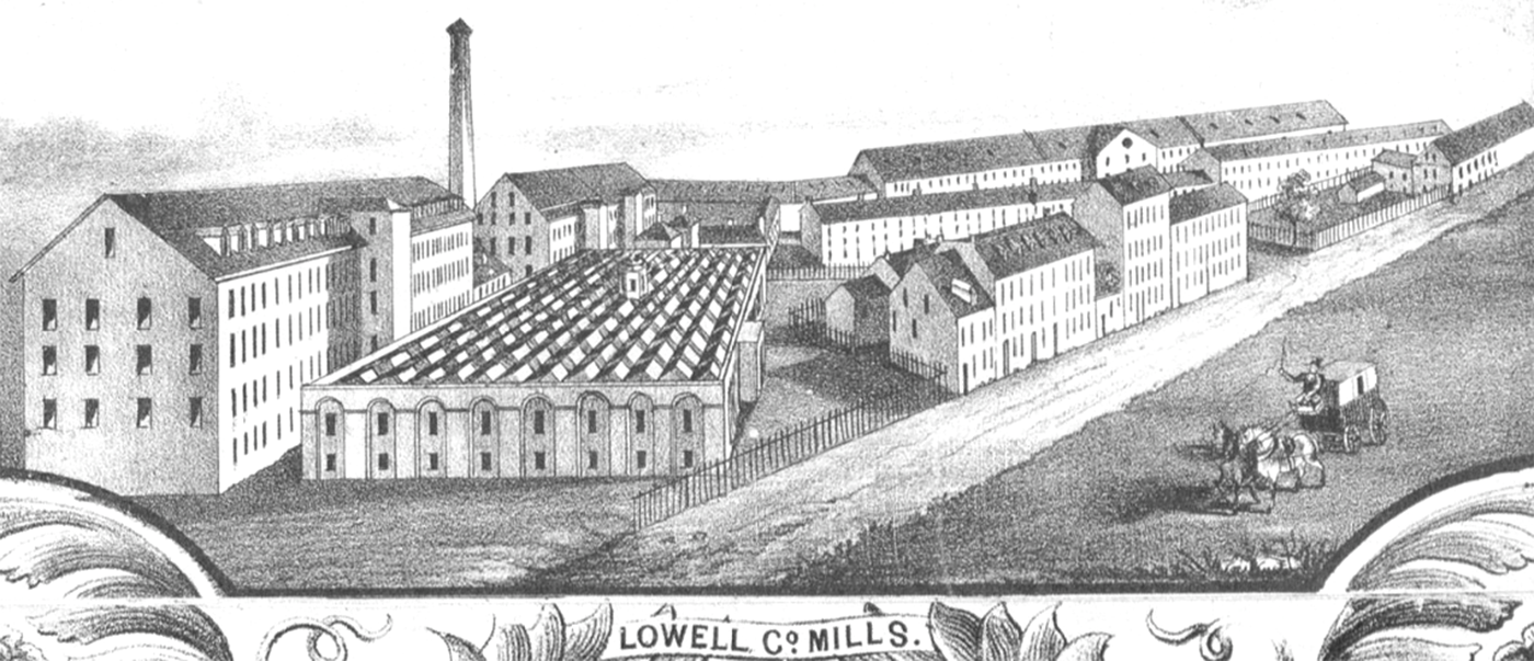 "Sidney & Neff, Detail from ""Plan of the City of Lowell, Massachusetts,"" 1850, http://commons.wikimedia.org/wiki/File:1850_Lowell_Co_Mills_Lowell_Massachusetts_detail_of_map_by_Sidney_and_Neff_BPL_11051.png."