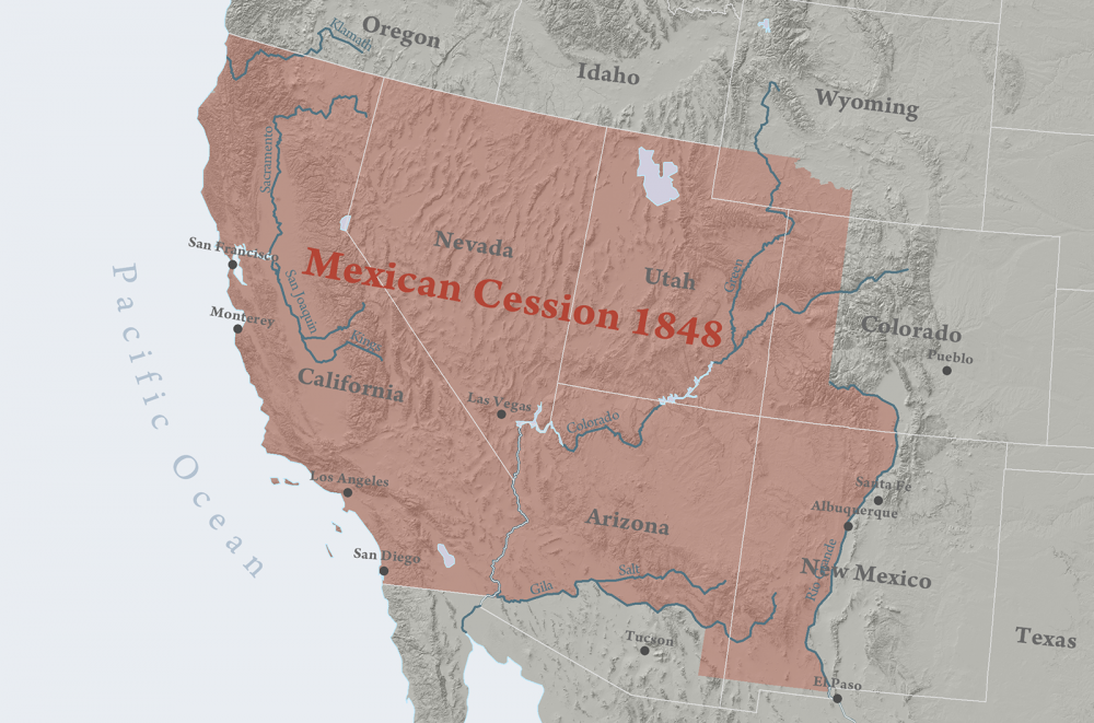 Questions about the balance of free and slave states in the Union became even more fierce after the US acquired these territories from Mexico by the 1848 in the Treaty of Guadalupe Hidalgo. Map of the Mexican Cession. WIkimedia, http://commons.wikimedia.org/wiki/File:Mexican_Cession.png.