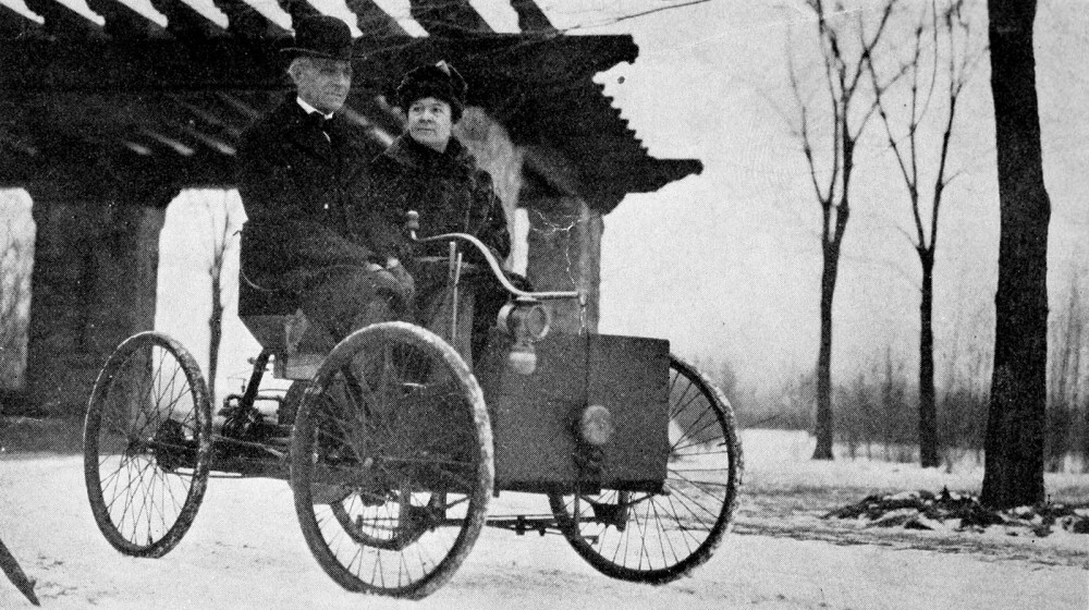 The automobile changed American life forever. Rampant consumerism, the desire to travel, and the affordability of cars allowed greater numbers of Americans to purchase automobiles. This was possible only through innovations in automobile design and manufacturing led by Henry Ford in Detroit, Michigan. Ford was a lifelong inventor, creating his very first automobile – the quadricycle – in his home garage. From The Truth About Henry Ford by Sarah T. Bushnell, 1922. Wikimedia, http://commons.wikimedia.org/wiki/File:Mr_and_Mrs_Henry_Ford_in_his_first_car.jpg.