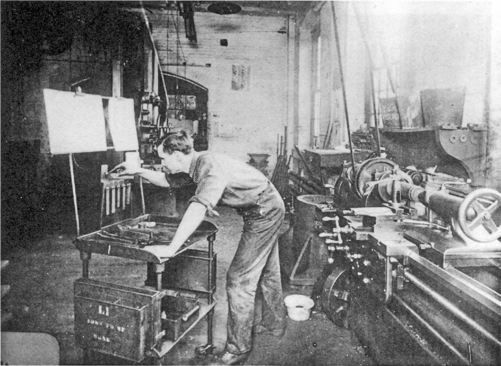 "Companies throughout the United States adopted the practices of ""Taylorism"" at the turn of the century, making the work of laborers like this machinist at the Tabor Company remarkably efficient. Photograph, c. 1905. Wikimedia, http://commons.wikimedia.org/wiki/File:Musterarbeitsplatz.png."