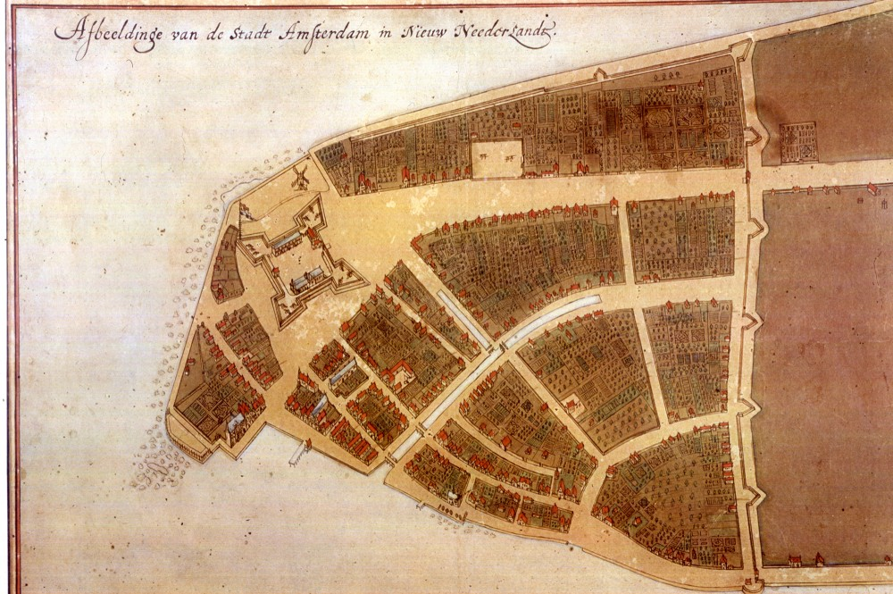The earliest plan of New Amsterdam (now Manhattan). 1660. Wikimedia.