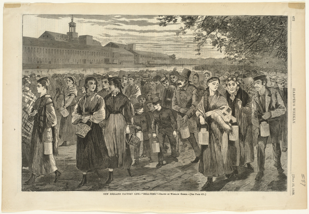 """This drawing shows men and women of all ages walking near a factory. Many are carrying lunch pails. Winslow Homer, """"Bell-Time,"""" Harper's Weekly vol. XII (July 1868): p. 472, http://commons.wikimedia.org/wiki/File:New_England_factory_life_--_%27Bell-time.%27_%28Boston_Public_Library%29.jpg."""