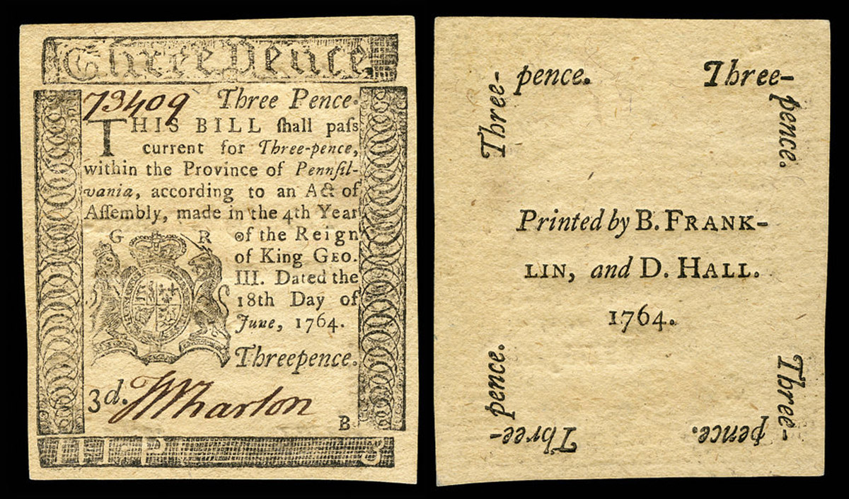 colonial society the american yawp benjamin franklin and david hall printers pennsylvania currency 1764