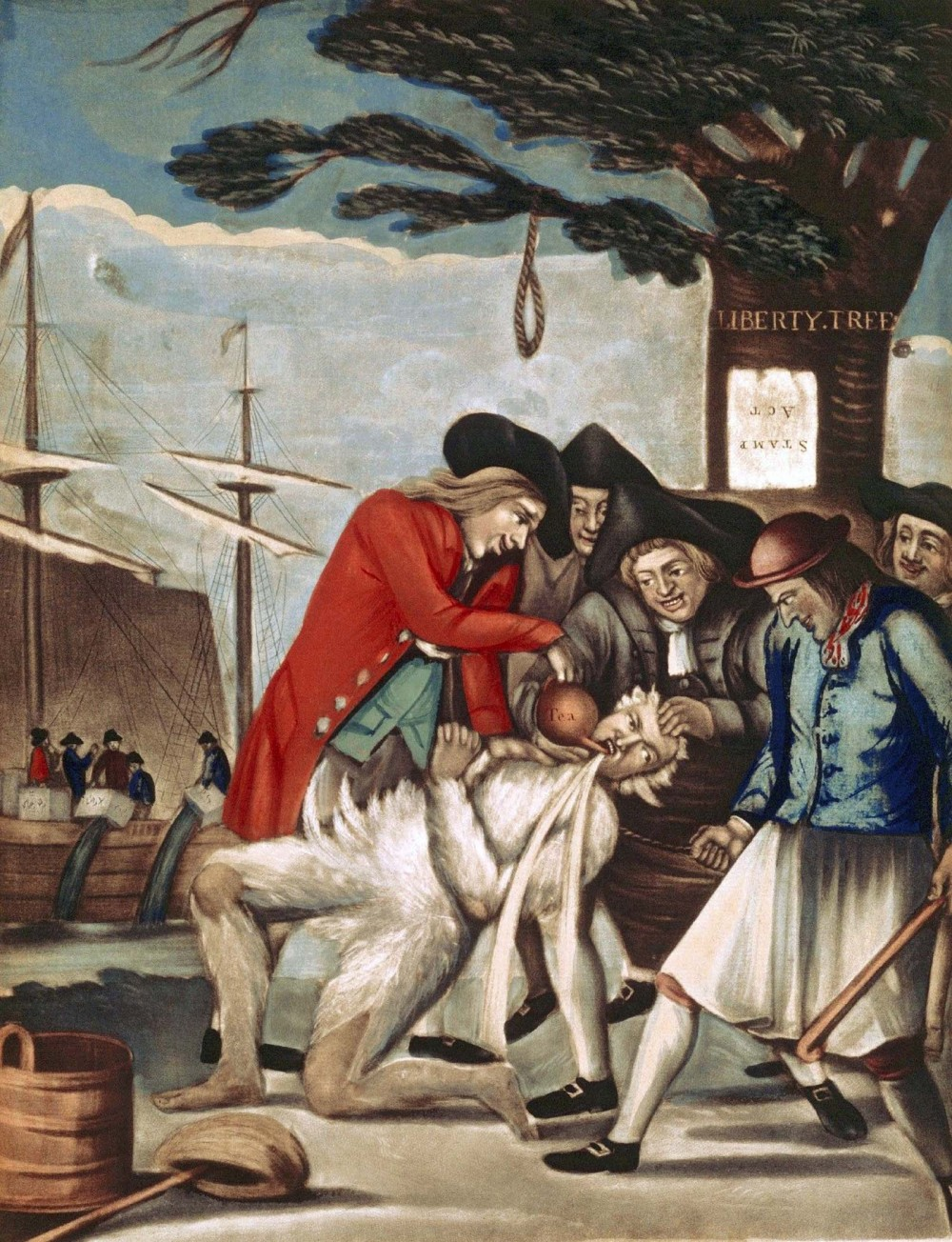 "Violent protest by groups like the Sons of Liberty created quite a stir both in the colonies and in England itself. While extreme acts like the tarring and feathering of Boston's Commissioner of Customs in 1774 propagated more protest against symbols of Parliament's tyranny throughout the colonies, violent demonstrations were regarded as acts of terrorism by British officials. This print of the 1774 event was from the British perspective, picturing the Sons as brutal instigators with almost demonic smiles on their faces as they enacted this excruciating punishment on the Custom Commissioner. Philip Dawe (attributed), ""The Bostonians Paying the Excise-man, or Tarring and Feathering,"" Wikimedia, http://commons.wikimedia.org/wiki/File:Philip_Dawe_%28attributed%29,_The_Bostonians_Paying_the_Excise-man,_or_Tarring_and_Feathering_%281774%29.jpg."