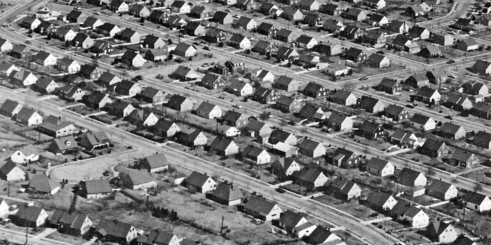 Levittown, early 1950s, via Flickr user markgregory.