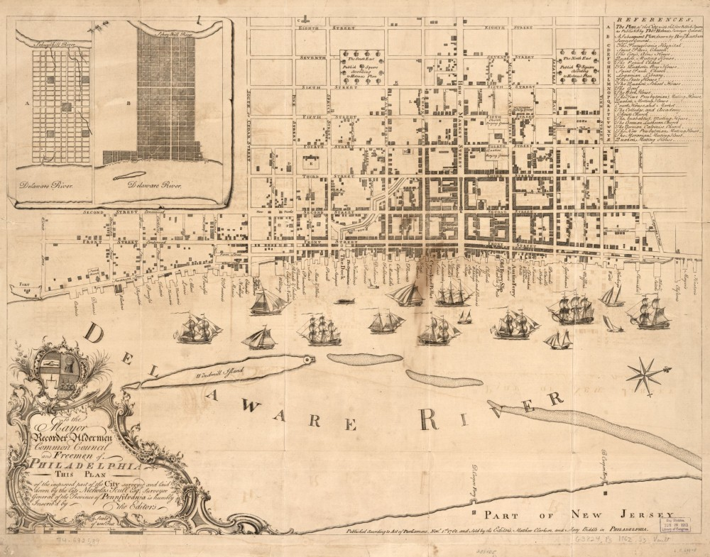"Nicholas Scull, ""To the mayor, recorder, aldermen, common council, and freemen of Philadelphia this plan of the improved part of the city surveyed and laid down by the late Nicholas Scull,"" Philadelphia, 1762. Library of Congress, http://www.loc.gov/item/74692589/."