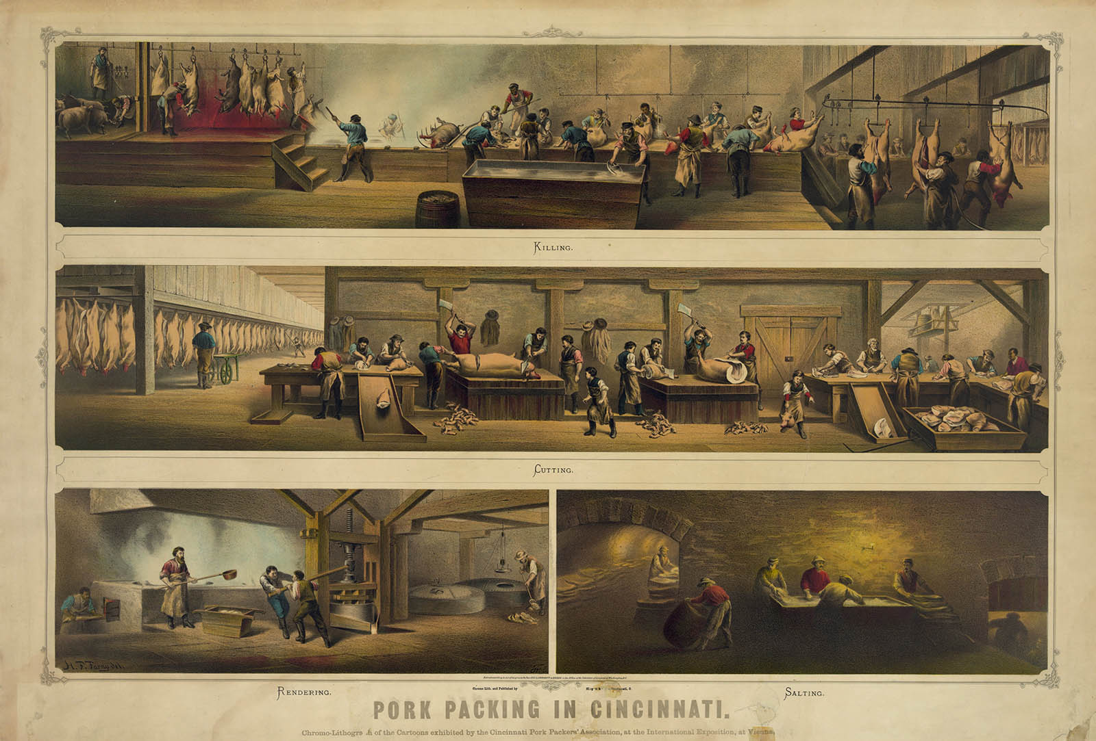 "This print shows the four stages of pork packing in nineteenth-century Cincinnati. This centralization of production made meat-packing an innovative industry, one of great interest to industrialists of all ilks. In fact, this chromo-lithograph was exhibited by the Cincinnati Pork Packers' Association at the International Exposition in Vienna, Austria. ""Pork Packing in Cincinnati,"" 1873. Wikimedia, http://commons.wikimedia.org/wiki/File:Pork_packing_in_Cincinnati_1873.jpg."