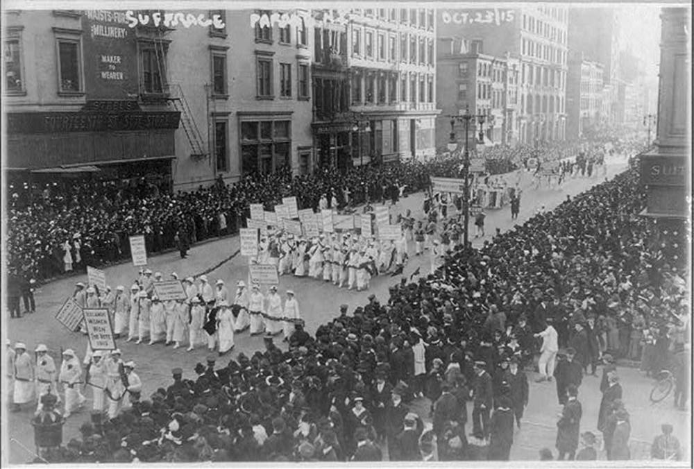Suffragettes campaigned tirelessly for the vote in the first two decades of the twentieth century, taking to the streets in public displays like this 1915 pre-election parade in New York City. During this one event, 20,000 women defied the gender norms that tried to relegate them to the private sphere and deny them the vote. Photograph, 1915. Wikimedia, http://commons.wikimedia.org/wiki/File:Pre-election_suffrage_parade_NYC.jpg.