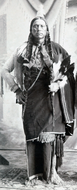 In 1874, Quanah Parker (of Comanche and English-American ancestry) led a Comanche war party into northern Texas to avenge their slain relatives. This failed attempt led to the reversal of federal policy in Washington, and eventually depleted the food source and economic livelihood of the Comanches. Parker afterwards became chief over all Comanches on the newly settled Oklahoma reservation, and, through smart investing, soon was the single richest native American of the late nineteenth century. Photograph portrait of Quanah Parker, c. 1890. Wikimedia, http://commons.wikimedia.org/wiki/File:Quanah_Parker_c1890.png.