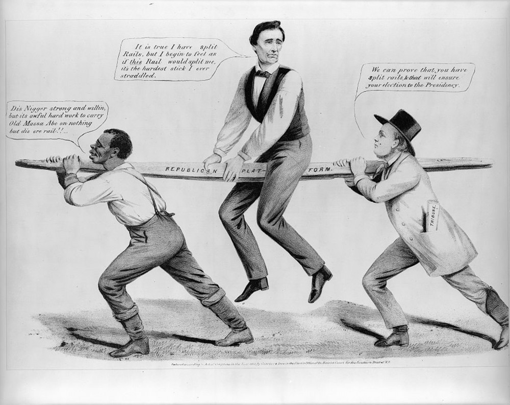 "In this political cartoon, Abraham Lincoln uncomfortably straddles a rail supported by a black man and Horace Greeley (editor of the New York ""Tribune""). The wood board is a dual reference to the antislavery plank of the 1860 Republican platform -- which Lincoln seemed to uneasily defend -- and Lincoln's backwoods origins. Louis Maurer, ""The Rail Candidate,"" Currier & Ives, c. 1860. Library of Congress, http://www.loc.gov/pictures/item/2001703953/."