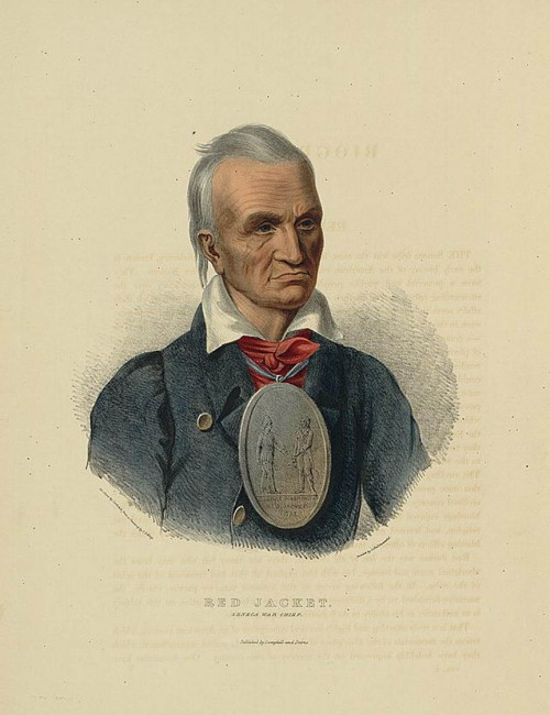 "Shown in this portrait as a refined gentleman, Red Jacket proved to be one of the most effective middlemen between native Americans and United States officials. The medal worn around his neck, apparently given to him by George Washington, reflects his position as an intermediary. Campbell & Burns, ""Red Jacket. Seneca war chief,"" Philadelphia: C. Hullmandel, 1838. Library of Congress, http://www.loc.gov/pictures/item/2003670111/."
