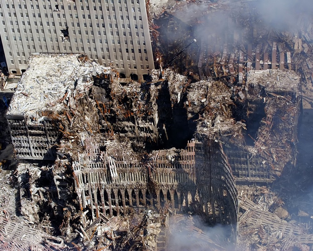 Six days after the September 11th attacks, the World Trade Center was still crumbling and dozens of men and women were still unaccounted for. Wikimedia, http://upload.wikimedia.org/wikipedia/commons/3/3b/September_17_2001.jpg.