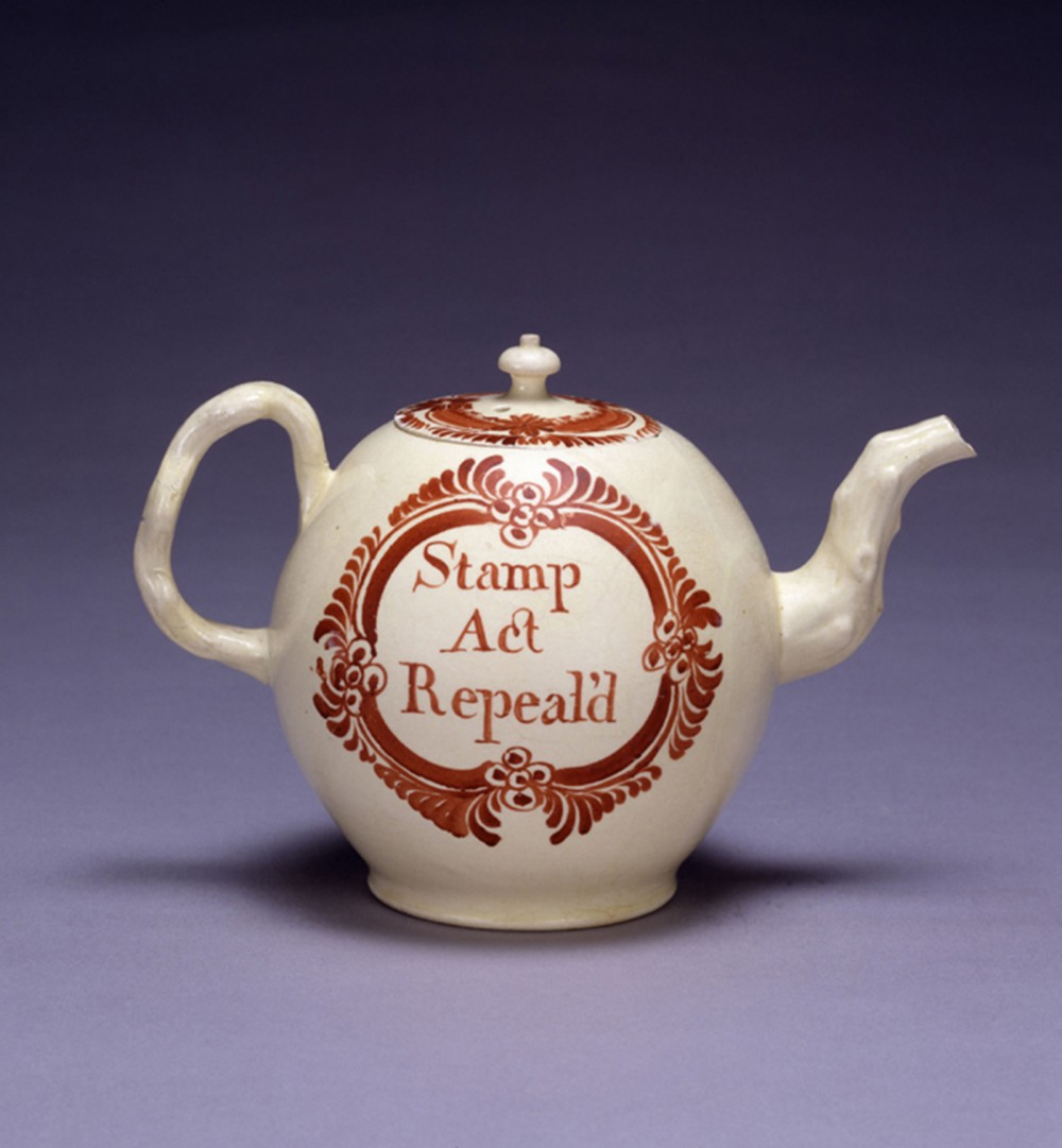 "Men and women politicized the domestic sphere by buying and displaying items that conspicuously revealed their position for or against Parliamentary actions. This witty teapot, which celebrates the end of taxation on goods like tea itself, makes clear the owner's perspective on the egregious taxation. ""Teapot, Stamp Act Repeal'd,"" 1786, in Peabody Essex Museum. Salem State University, http://teh.salemstate.edu/USandWorld/RoadtoLexington/pages/Teapot_jpg.htm."