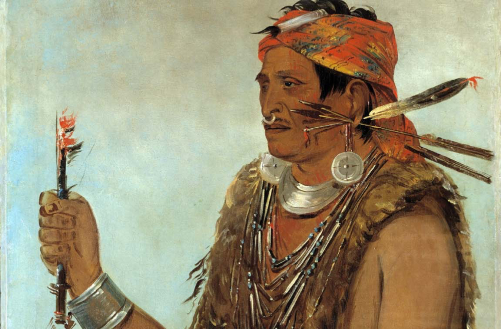 Tenskwatawa as painted by George Catlin, in 1831, via Wikimedia.
