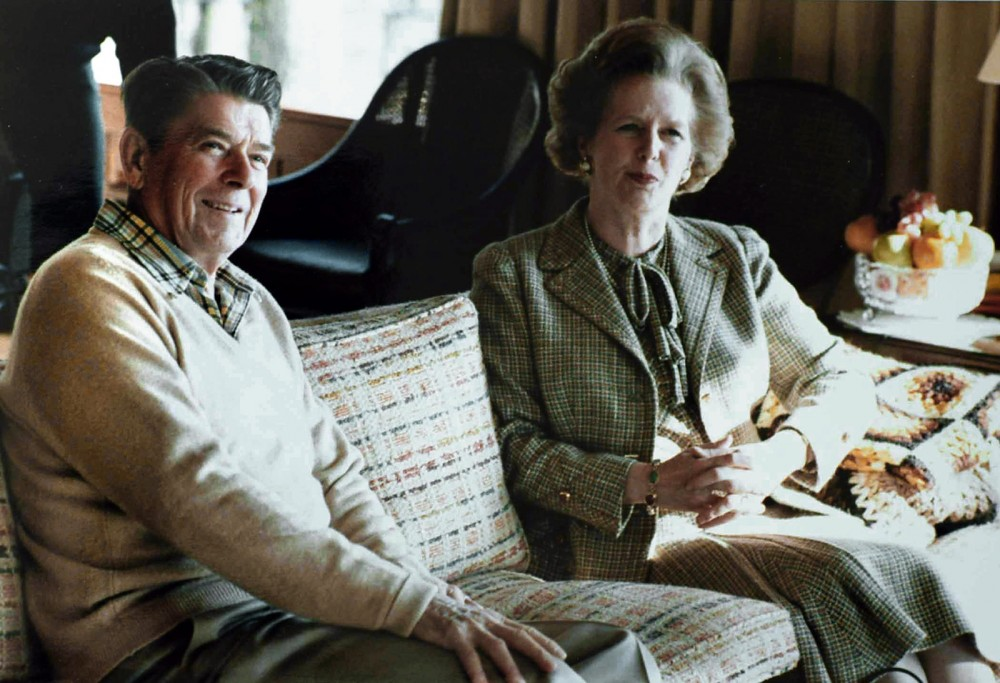 Margaret Thatcher and Ronald Reagan, leaders of two of the world's most powerful countries, formed an alliance that benefited both throughout their tenures in office. Photograph of Margaret Thatcher with Ronald Reagan at Camp David, December 22, 1984. Wikimedia, http://commons.wikimedia.org/wiki/File:Thatcher_Reagan_Camp_David_sofa_1984.jpg.