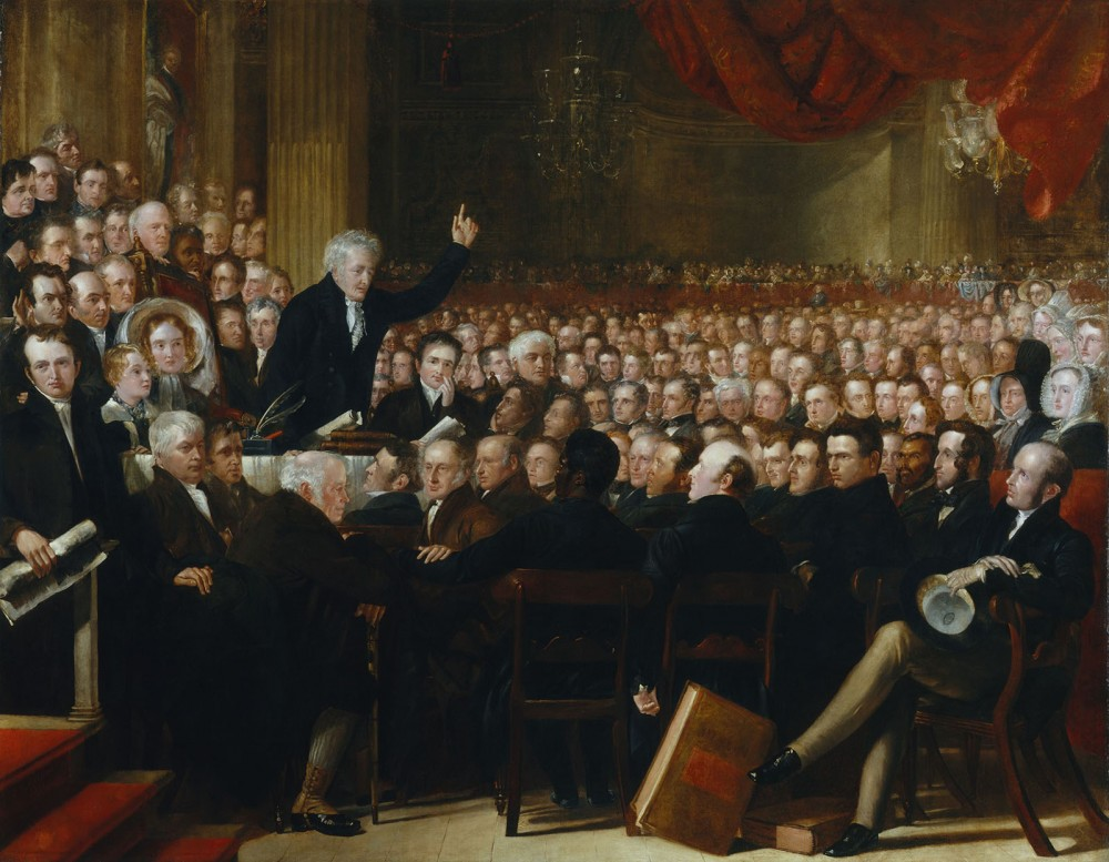 This enormous painting documents the 1840 convention of the British and Foreign Anti-Slavery Society, established by both American and English anti-slavery activists to promote worldwide abolition. Benjamin Haydon, The Anti-Slavery Society Convention, 1840. Wikimedia, http://commons.wikimedia.org/wiki/File:The_Anti-Slavery_Society_Convention,_1840_by_Benjamin_Robert_Haydon.jpg.