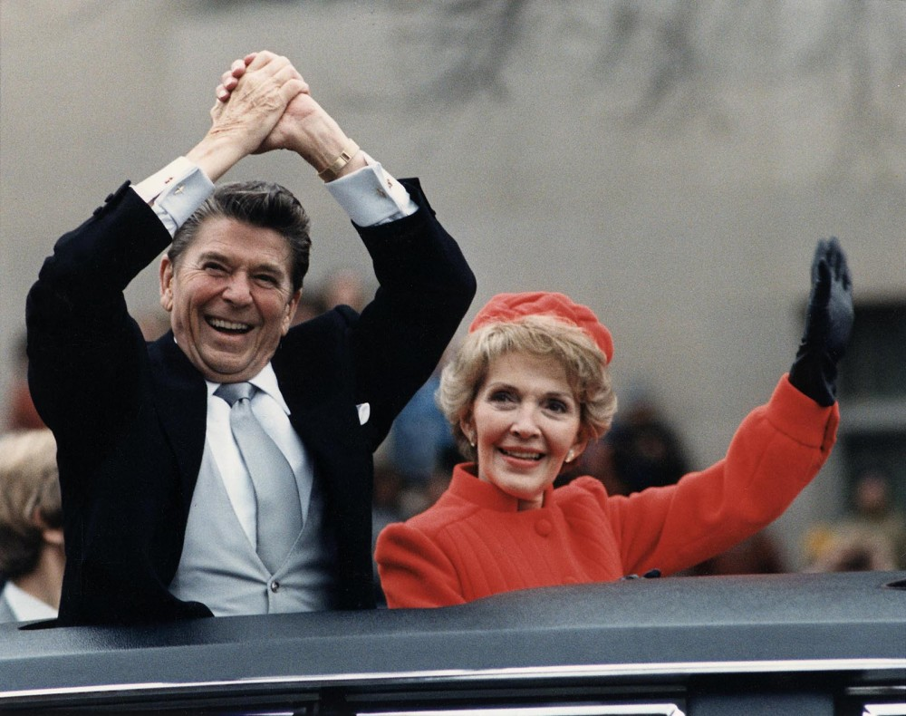 "Harkening back to Jeffersonian politics of limited government, a viewpoint that would only increase in popularity over the next three decades, Ronald Reagan launched his campaign by saying bluntly, ""I believe in states' rights."" Reagan secured the presidency through appealing to the growing conservatism of much of the country. Ronald Reagan and wife Nancy Reagan waving from the limousine during the Inaugural Parade in Washington, D.C. on Inauguration Day, 1981. Wikimedia, http://commons.wikimedia.org/wiki/File:The_Reagans_waving_from_the_limousine_during_the_Inaugural_Parade_1981.jpg."