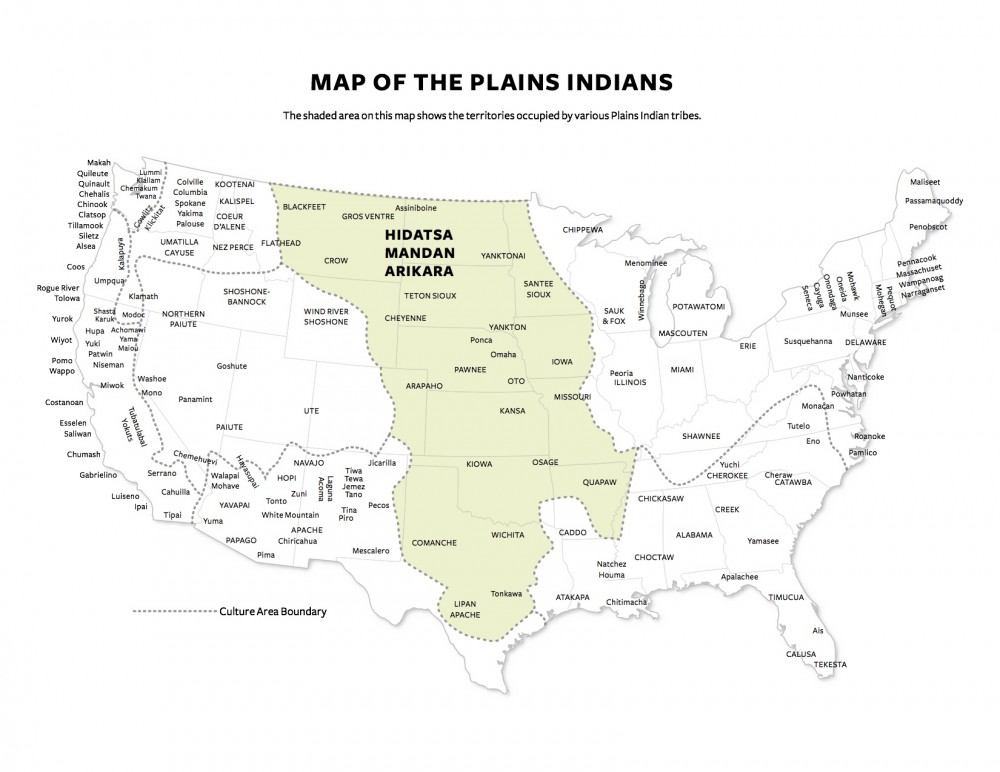 """Map of the Plains Indians,"" undated. Smithsonian Institute, http://americanhistory.si.edu/buffalo/files/pdf/TrackingTheBuffalo_Map_printable.pdf."