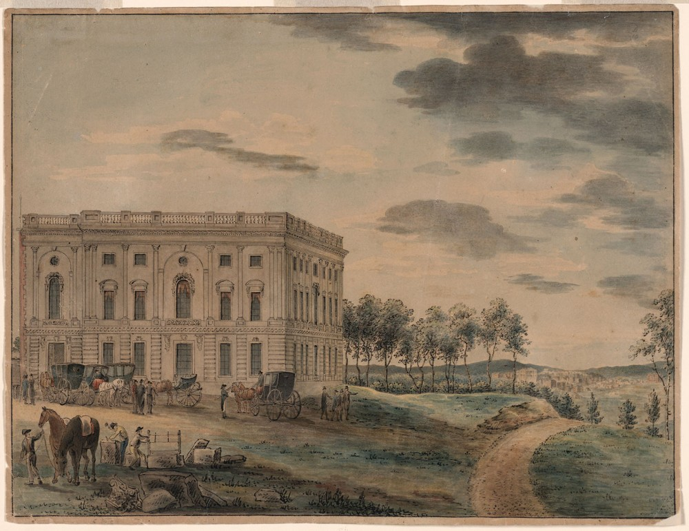 The year 1800 brought about a host of changes in government, in particular the first successful and peaceful transfer of power from one political party to another. But the year was important for another reason: the US Capitol in Washington, D.C. (pictured here in 1800) was finally opened to be occupied by the Congress, the Supreme Court, the Library of Congress, and the courts of the District of Columbia. William Russell Birch, A view of the Capitol of Washington before it was burnt down by the British, c. 1800. Wikimedia, http://commons.wikimedia.org/wiki/File:USCapitol1800.jpg.