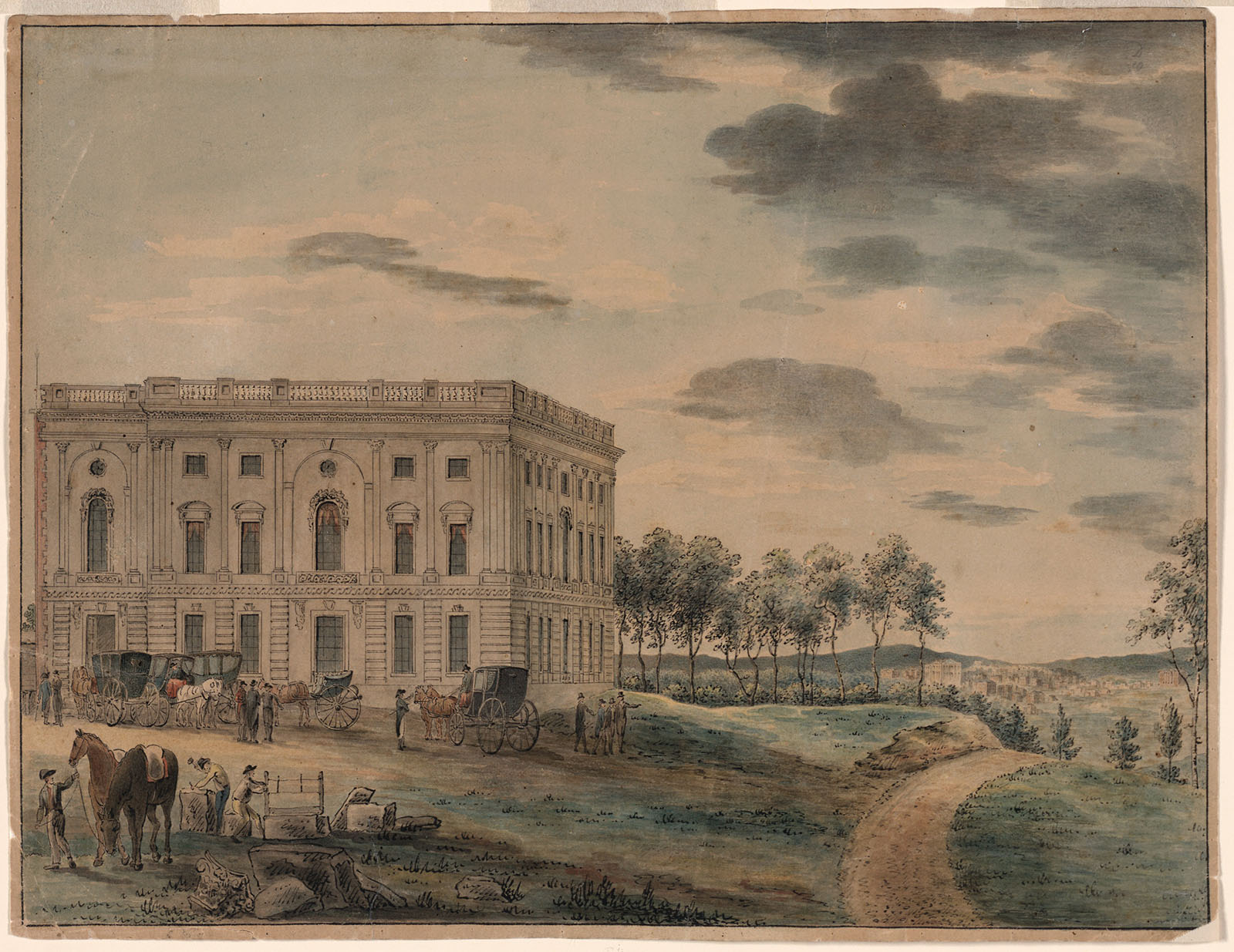 The Capitol building before it was burnt down. It is much smaller than the  modern