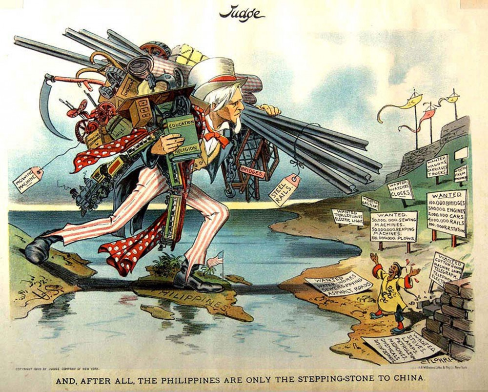 "Uncle Sam, loaded with implements of modern civilization, uses the Philippines as a stepping-stone to get across the Pacific to China (represented by a small man with open arms), who excitedly awaits Sam's arrival. With the expansionist policy gaining greater traction, the possibility for more imperialistic missions (including to conflict-ridden China) seemed strong. The cartoon might be arguing that such endeavors are worthwhile, bringing education, technological, and other civilizing tools to a desperate people. On the other hand, it could be read as sarcastically commenting on America's new propensity to ""step"" on others. ""AND, AFTER ALL, THE PHILIPPINES ARE ONLY THE STEPPING-STONE TO CHINA,"" in Judge Magazine, 1900 or 1902. Wikimedia, http://commons.wikimedia.org/wiki/File:UncleSamStepingStoneToChina.jpg."