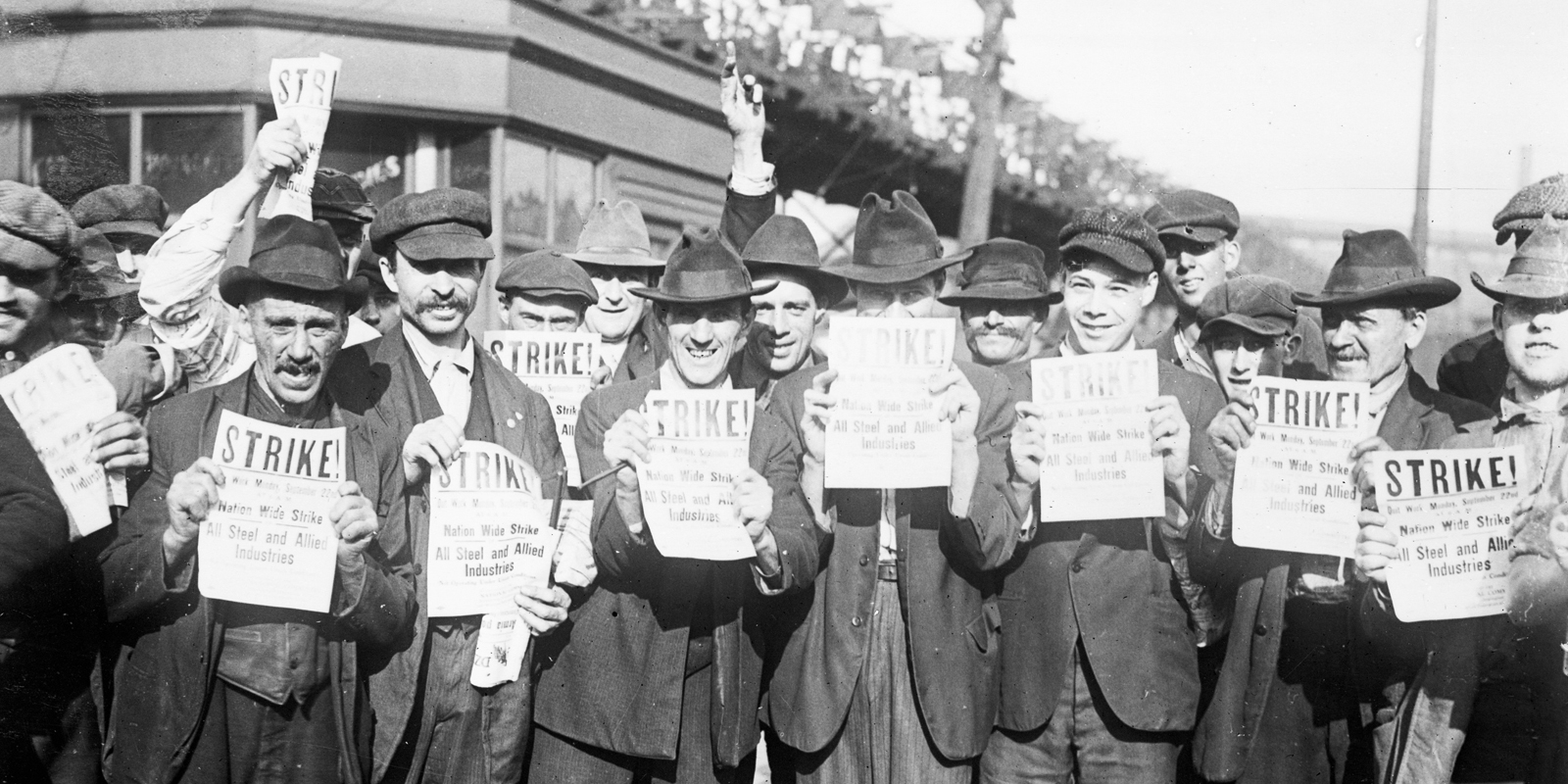 Striking steel mill workers holding bulletins, Chicago, Illinois, September 22, 1919. ExplorePAhistory.com