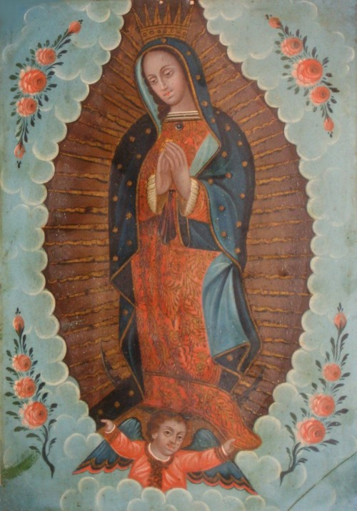 "Our Lady of Guadalupe is perhaps the most culturally important and extensively reproduced Mexican-Catholic image. In the iconic depiction, Mary stands atop the tilma (peasant cloak) of Juan Diego, on which according to his story appeared the image of the Virgin of Guadalupe. Throughout Mexican history, the story and image of Our Lady of Guadalupe has been a unifying national symbol. Mexican retablo of ""Our Lady of Guadalupe,"" 19th century, in El Paso Museum of Art. Wikimedia, http://commons.wikimedia.org/wiki/File:Mexican_oil_paint_on_tin_retablo_of_%27Our_Lady_of_Guadalupe%27,_19th_century,_El_Paso_Museum_of_Art.JPG."