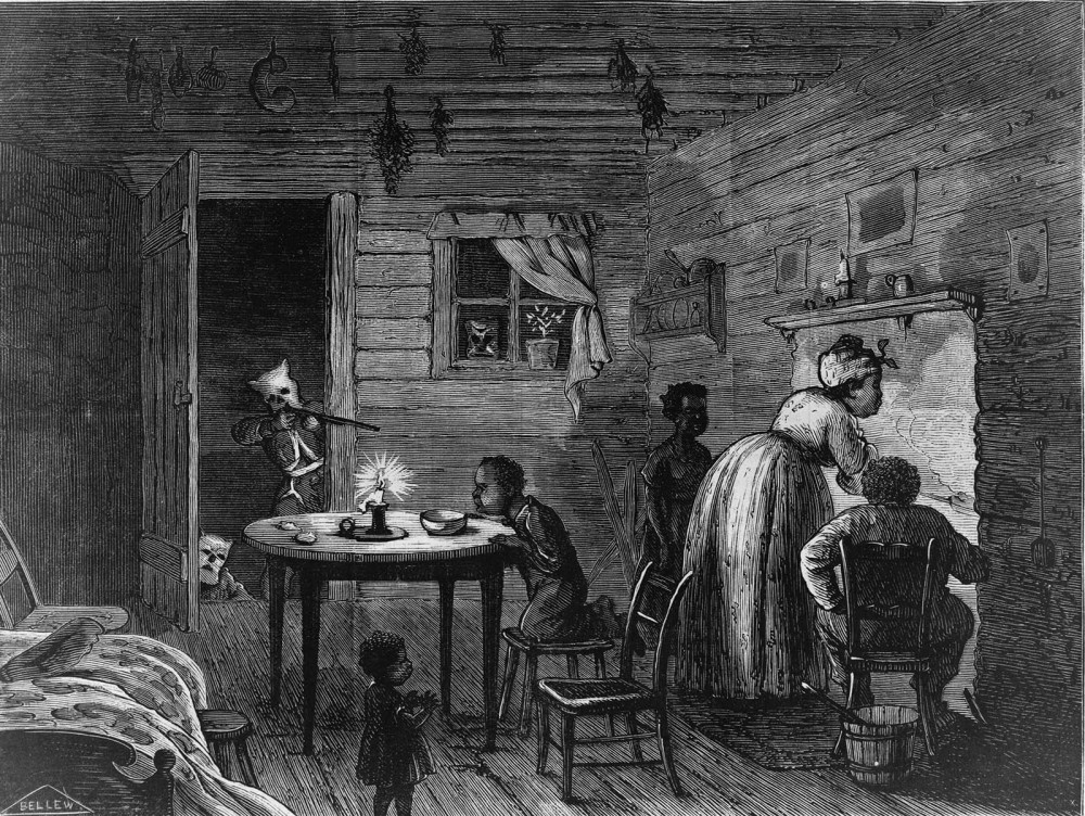 "The Ku Klux Klan was just one of a number of vigilante groups that arose after the war to terrorize African Americans and Republicans throughout the South. The KKK brought violence into the voting polls, the workplace, and -- as seen in this Harper's Weekly print -- the homes of black Americans. Frank Bellew, ""Visit of the Ku-Klux,"" 1872. Wikimedia, http://commons.wikimedia.org/wiki/File:Visit_of_the_Ku-Klux_1872.jpg."