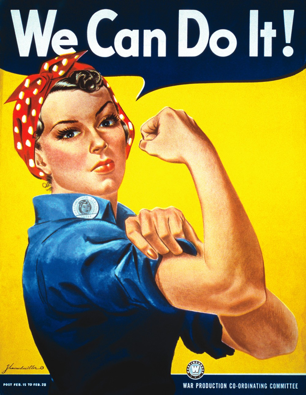 "Women came into the workforces in greater numbers than ever before during WWII. With vacancies left by deployed men and new positions created by war production, posters like this iconic ""We Can Do It!"" urged women to support the war effort by going to work in America's factories. Poster for Westinghouse, 1942. Wikimedia, http://commons.wikimedia.org/wiki/File:We_Can_Do_It!.jpg."