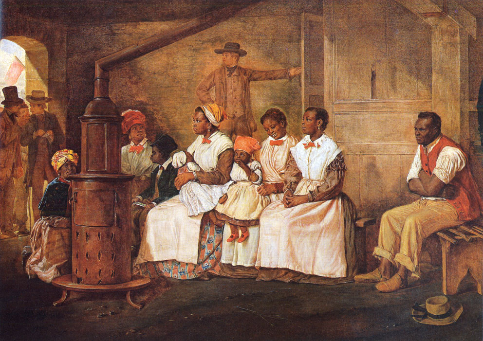 Eyre Crowe, Slaves Waiting for Sale, Richmond, Virginia, 1861, via University of Virginia, The Atlantic Slave Trade and Slave Life in the Americas.