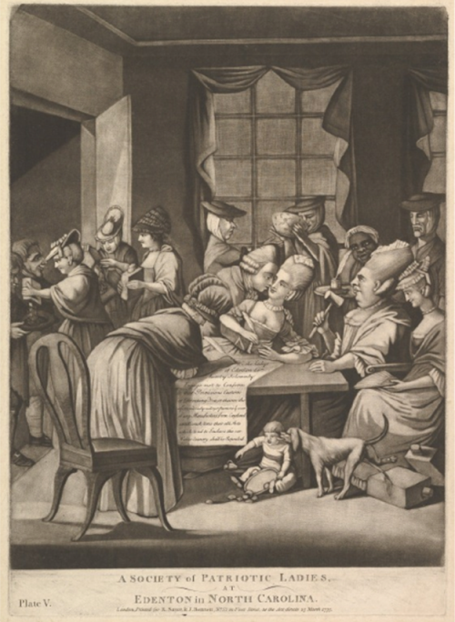 "While in the 13 colonies boycotting women were seen as patriots, they were mocked in British prints like this one as immoral harlots sticking their noses in the business of men. Philip Dawe, ""A Society of Patriotic Ladies at Edenton in North Carolina, March 1775. Metropolitan Museum of Art, http://www.metmuseum.org/collection/the-collection-online/search/388959."