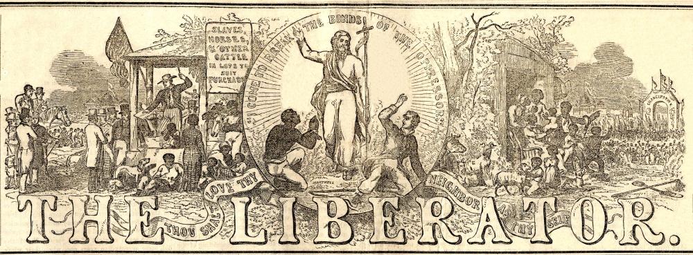 The Liberator, April 17, 1857. Masthead designed by Hammatt Billings in 1850. Via Metropolitan State University.