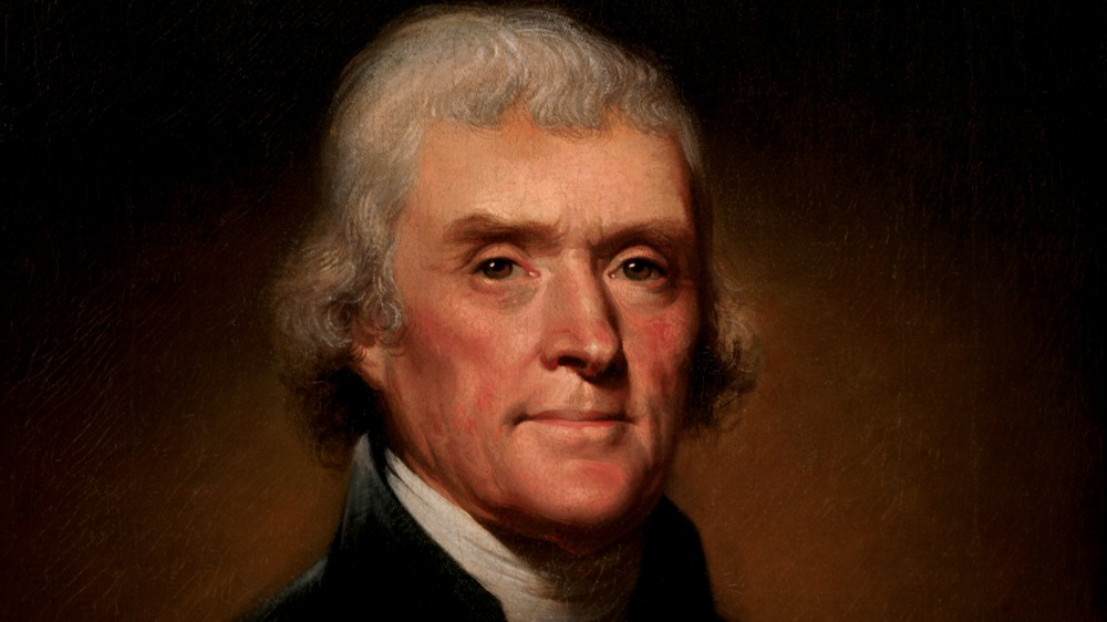 Official Presidential portrait of Thomas Jefferson, by Rembrandt Peale, via White House Historical Association