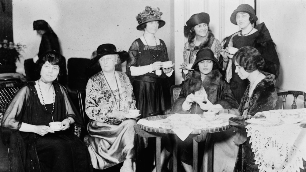 "During the 1920s, the National Women's Party fought for the rights of women beyond that of suffrage, which they had secured through the 19th Amendment in 1920. They organized private events, like the tea party pictured here, and public campaigning, such as the introduction of the Equal Rights Amendment to Congress, as they continued the struggle for equality. ""Reception tea at the National Womens [i.e., Woman's] Party to Alice Brady, famous film star and one of the organizers of the party,"" April 5, 1923. Library of Congress."