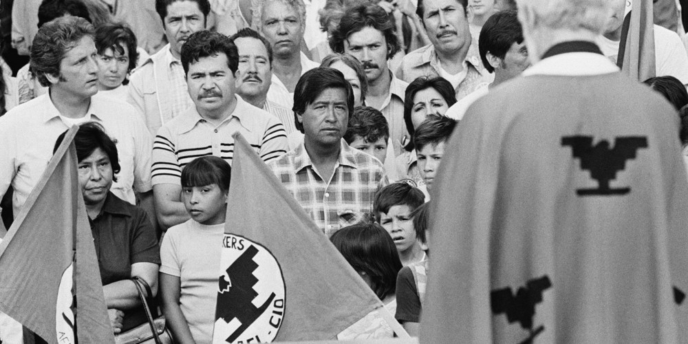 The United Farm Workers Union become a strong force for bettering working conditions of laborers in California and Florida agriculture. Cesar Chavez (center) and UFW supporters attend an outdoor Mass on the capitol steps in Sacramento, Calif., before start of a labor protest march, date unknown. http://i.huffpost.com/gen/1608804/thumbs/o-CESAR-CHAVEZ-facebook.jpg.