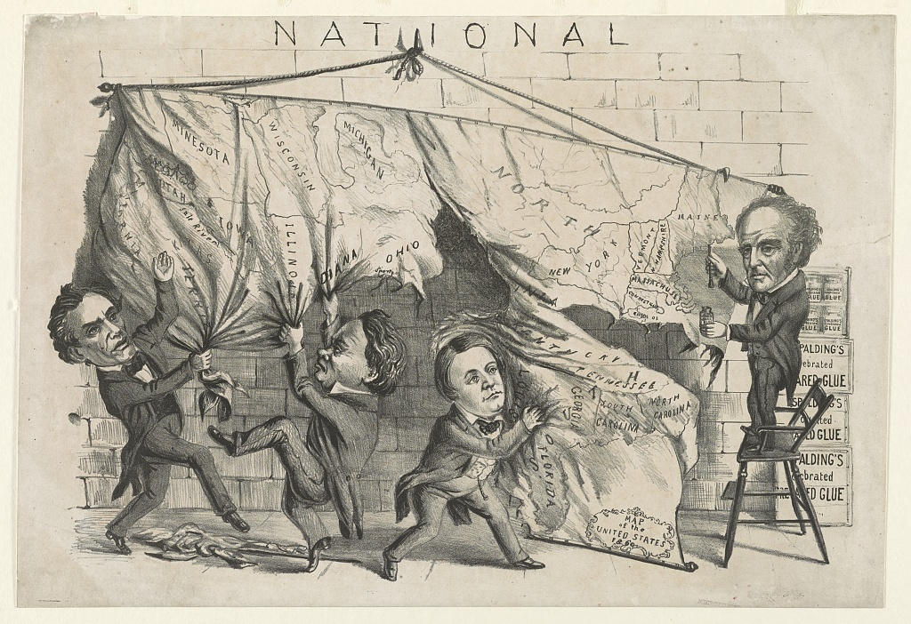 This political cartoon depicts the four candidates in the 1860 presidential election tearing apart a map of the United States.