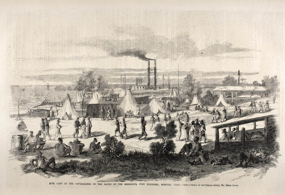 Enslaved African Americans who took freedom into their own hands and ran to Union lines congregated in what were called contraband camps, which existed alongside Union army camps. As is evident in the photograph, these were crude, disorganized, and dirty places. But they were still centers of freedom for those fleeing slavery. Contraband camp, Richmond, Va, 1865. The Camp of the Contrabands on the Banks of the Mississippi, Fort Pickering, Memphis, Tenn, 1862. American Antiquarian Society, from Shades of Gray and Blue, http://www.civilwarshades.org/building-a-future/contraband-camps/.