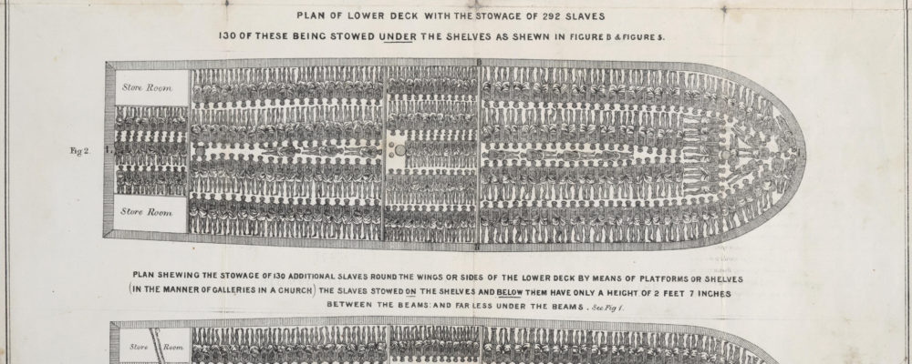 """Stowage of the British slave ship Brookes under the regulated slave trade act of 1788,"" 1789, via Wikimedia. Slave ships transported 11-12 million Africans to destinations in North and South America, but it was not until the end of the 18th century that any regulation was introduced. The Brookes print dates to after the Regulated Slave Trade Act of 1788, but still shows enslaved Africans chained in rows using iron leg shackles. The slave ship Brookes was allowed to carry up to 454 slaves, allotting 6 feet (1.8 m) by 1 foot 4 inches (0.41 m) to each man; 5 feet 10 inches (1.78 m) by 1 foot 4 inches (0.41 m) to each women, and 5 feet (1.5 m) by 1 foot 2 inches (0.36 m) to each child, but one slave trader alleged that before 1788, the ship carried as many as 609 slaves."