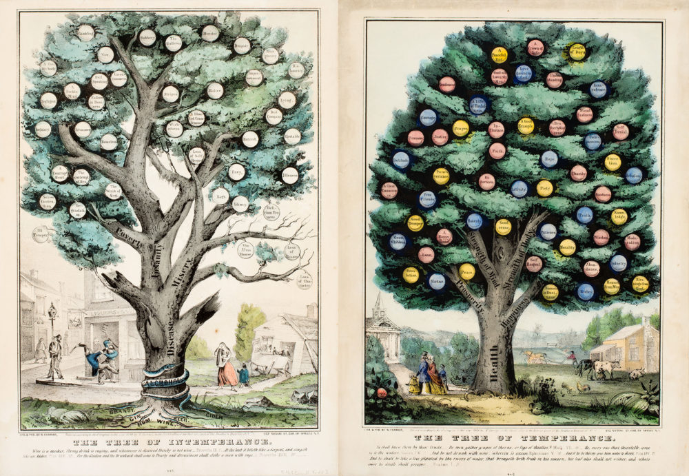 """This print shows two trees: """"Tree of Temperance"""" and """"Tree of Intemperance,"""" The tree of bears colorful fruit and the trunk includes the word health, prosperity, strength of mind, happiness, and more. The tree of intemperance, on the other hand, is barren and marred by disease, misery, poverty, and insanity."""