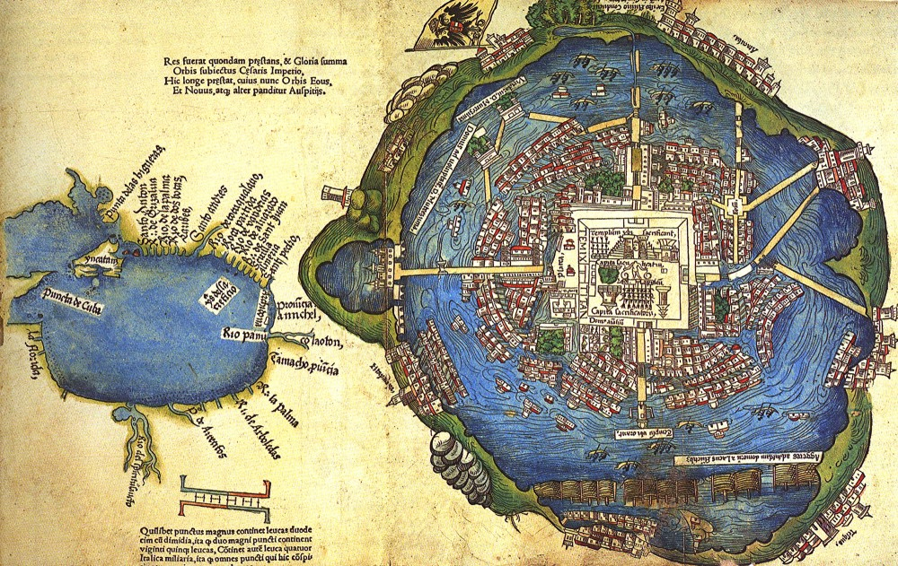 This sixteenth-century map of Tenochtitlan shows the aesthetic beauty and advanced infrastructure of this great Aztec city. Map, c. 1524, Wikimedia, http://commons.wikimedia.org/wiki/File:%D0%A2%D0%B5%D0%BD%D0%BE%D1%87%D1%82%D0%B8%D1%82%D0%BB%D0%B0%D0%BD.jpg.