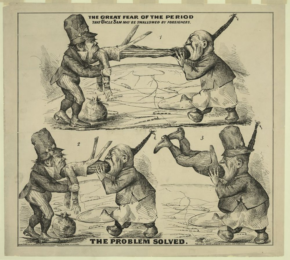 """""""The great fear of the period That Uncle Sam may be swallowed by foreigners : The problem solved,"""" 1860-1869, Library of Congress."""