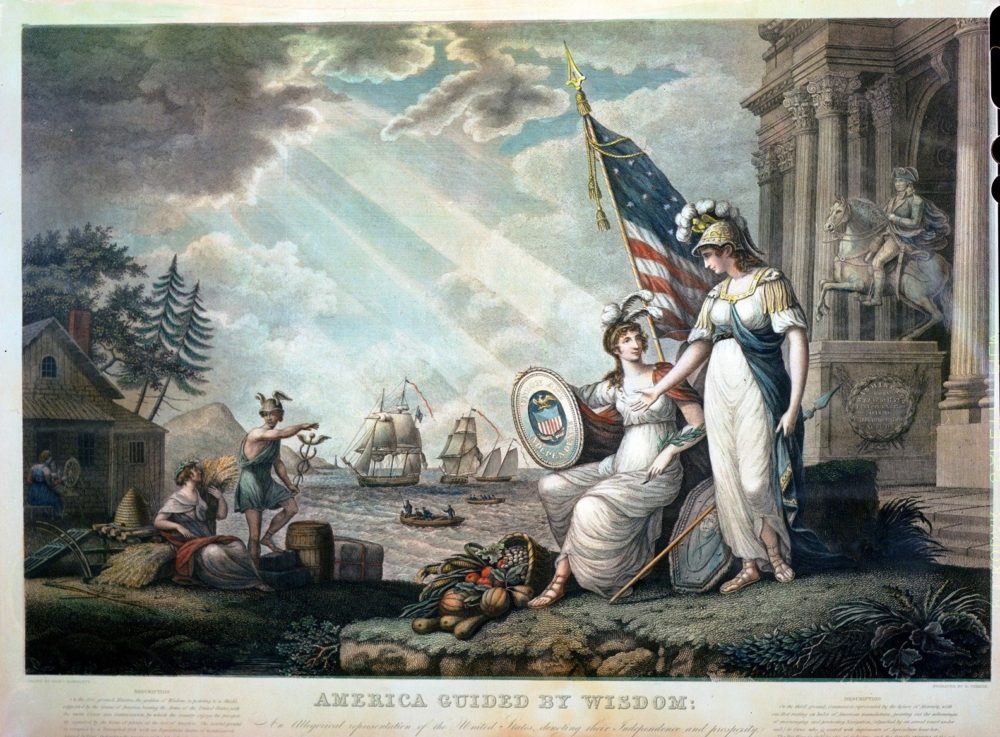 """John J. Bartlett, """"America guided by wisdom An allegorical representation of the United States depicting their independence and prosperity,"""" 1815, via Library of Congress."""