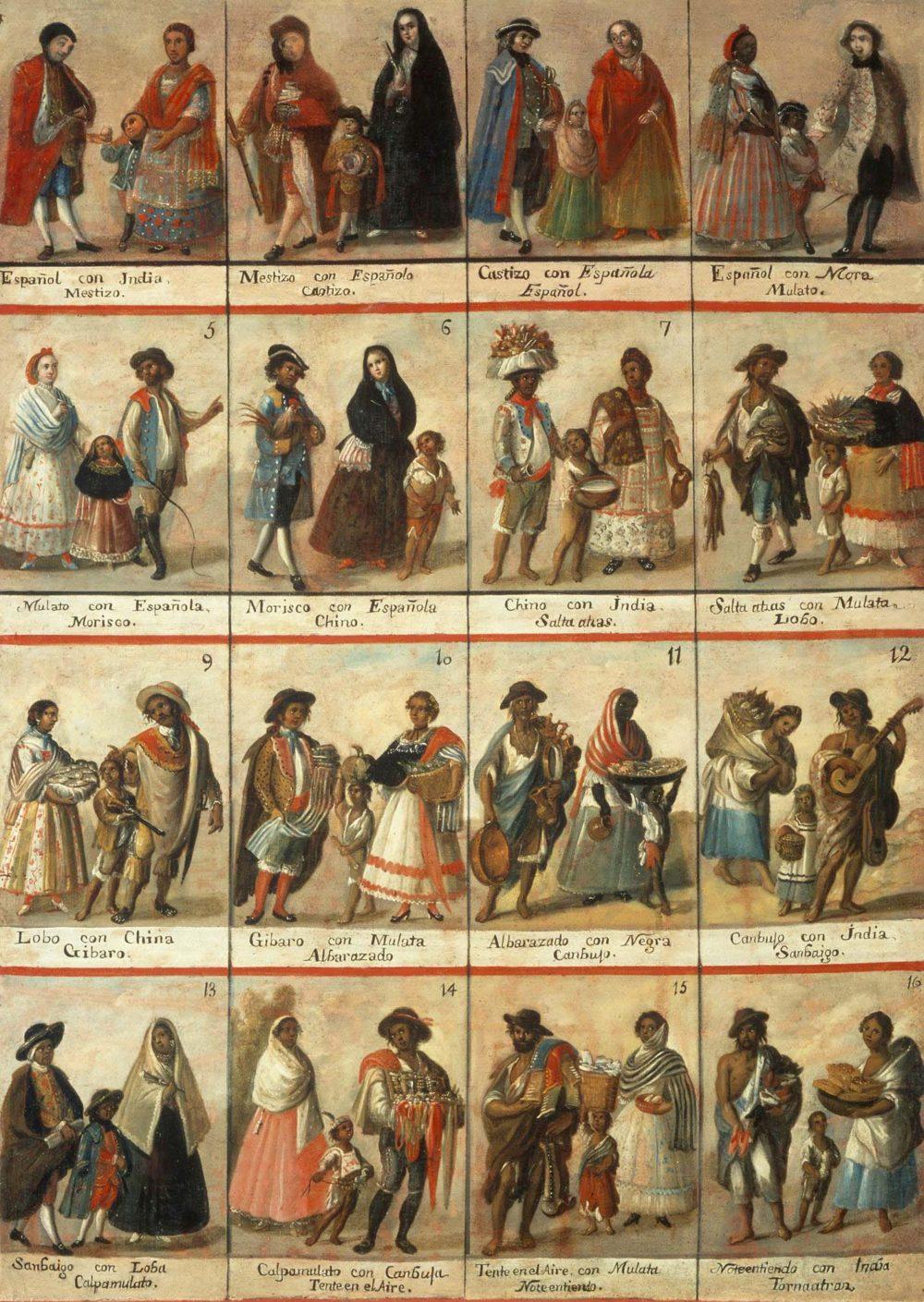 Excerpt from the casta paintings describing the many different races of Spanish America. The castas depicted are Mestizo, Castizo, Espanol, Mulato, Morisco, Chino, Salta atras, Lobo, Cribaro, Albarazado, Canbuso, Sanbaigo, Capamulato, Tenteen el Aire, Noteentiendo, Tornatraz