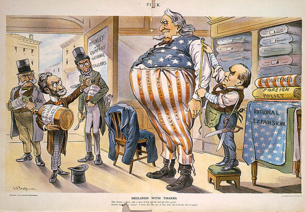 """Tailor President McKinley measures an obese Uncle Sam for larger clothing, while Anti-Expansionists like Joseph Pulitzer unsuccessfully offer Sam a weight-loss elixir. As the nation increased its imperialistic presence and mission, many like Pulitzer worried that America would grow too big for its own good. John S. Pughe, """"Declined With Thanks,"""" in Puck (September 5, 1900). Wikimedia, http://commons.wikimedia.org/wiki/File:McKinleyNationalExpansionUncleSamPulitzer.jpg."""